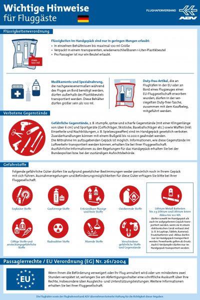 Wichtige Hinweise für Fluggäste beim Handgepäck