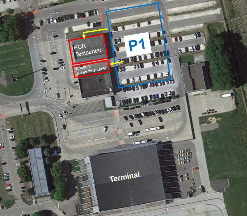Lage der Coronatestcenter am Flughafen Memmingen
